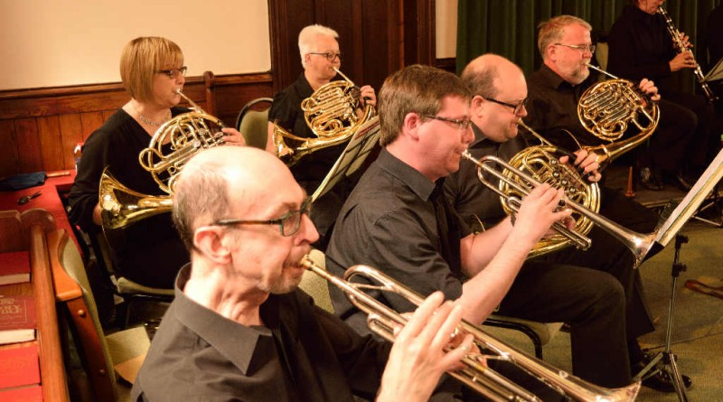A phalanx of brass: Andy & Alex (trumpets), with Alison, Marion, Adam and John (horns).